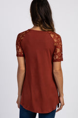 Rust Lace Sleeve Maternity Top