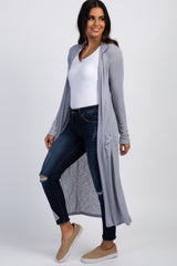 Grey Ribbed Duster Cardigan