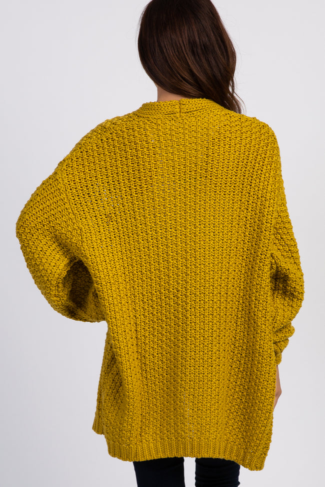 Yellow Chunky Knit Cardigan