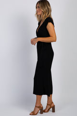 Black Cropped Wrap Tie Jumpsuit