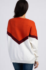 Rust Knit Chevron Colorblock Sweater