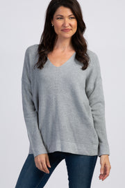 Heather Grey knit Long Sleeve Sweater