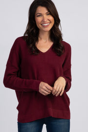Burgundy knit Long Sleeve Sweater