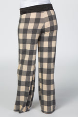 Beige Plaid Drawstring Maternity Lounge Pants