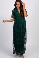 Emerald Green Lace Mesh Overlay Maternity Maxi Dress