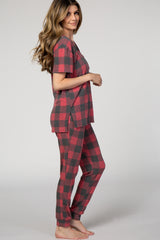 PinkBlush Red Plaid Short Sleeve Pajama Set