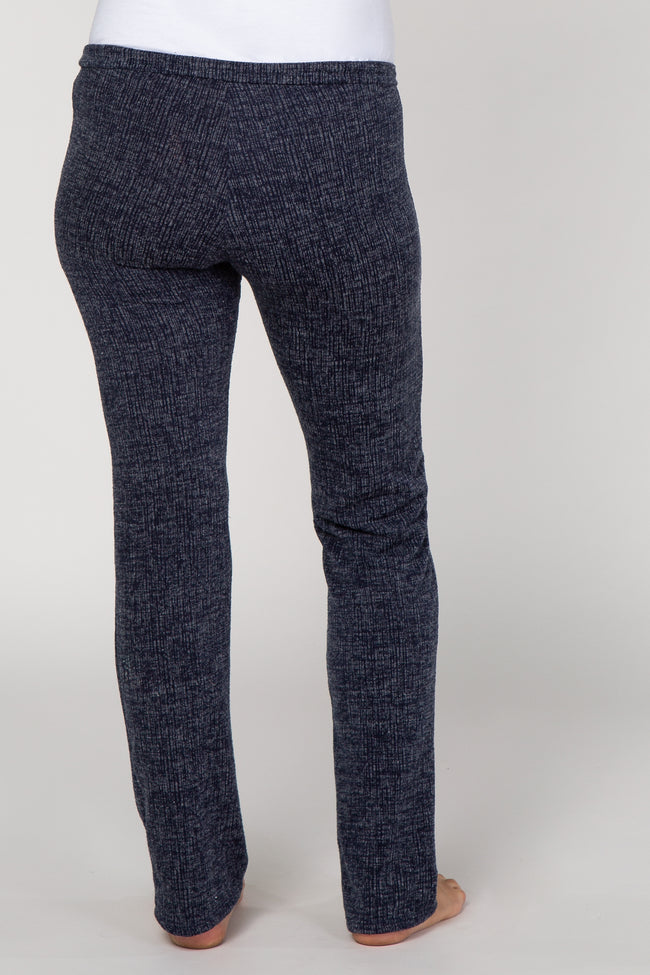 Navy Two-Tone Knit Maternity Lounge Pants