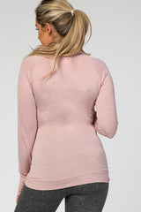 Light Pink Long Sleeve Turtle Neck Maternity Active Top