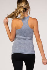 Heather Blue Racerback Fitted Maternity Active Tank Top