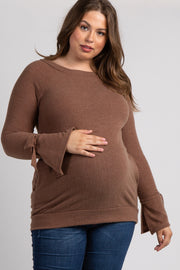 Brown Solid Sleeve Tie Plus Maternity Sweater