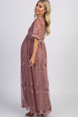 Dark Mauve Lace Mesh Overlay Maternity Maxi Dress
