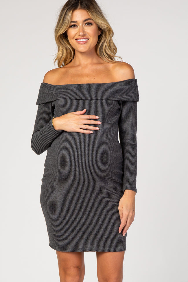 PinkBlush Charcoal Off Shoulder Long Sleeve Ribbed Knit Maternity Dress