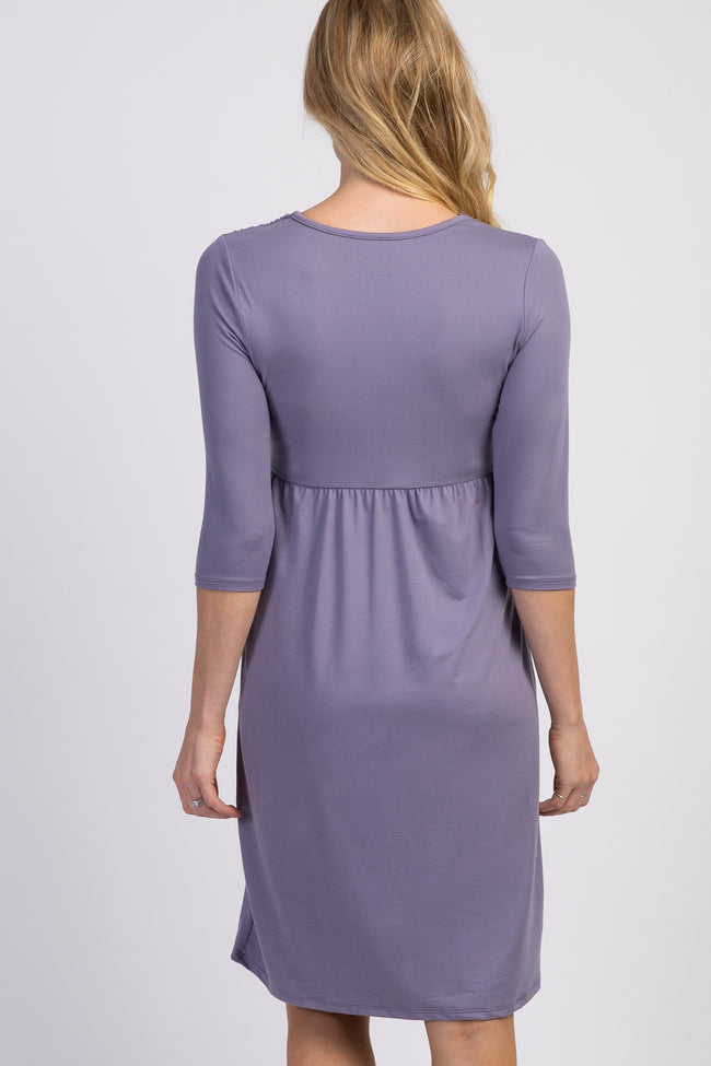 Lavender Twist Front 3/4 Sleeve Maternity Dress