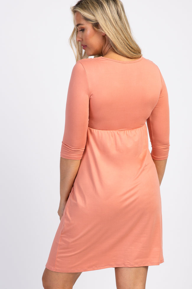 Peach Twist Front 3/4 Sleeve Maternity Dress