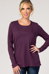 Plum Long Sleeve Layered Maternity/Nursing Top