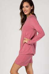 Mauve Solid Long Sleeve Pajama Set