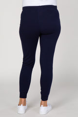 Navy Blue Solid Drawstring Maternity Joggers