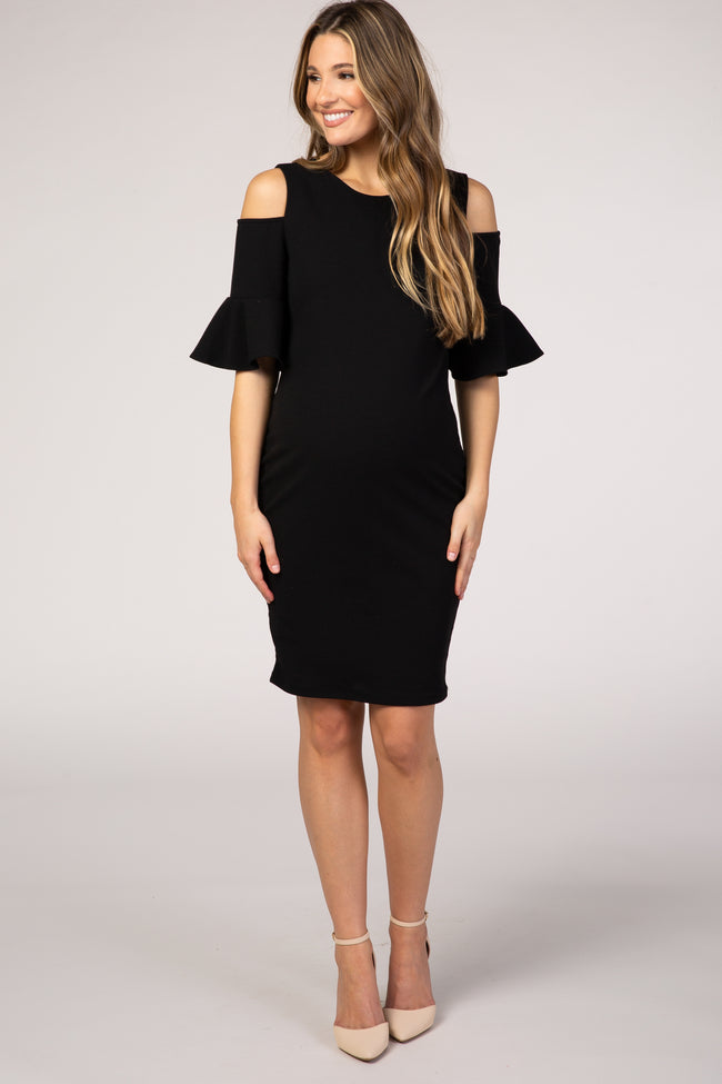 Black Cold Shoulder Fitted Maternity Dress