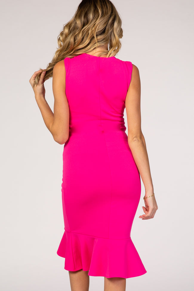 Fuchsia Sleeveless Ruffle Hem Fitted Maternity Midi Dress