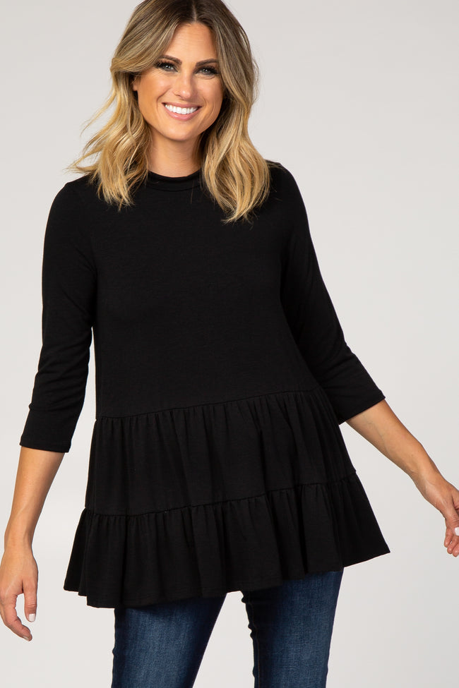 PinkBlush Black Tiered Mock Neck Maternity Top
