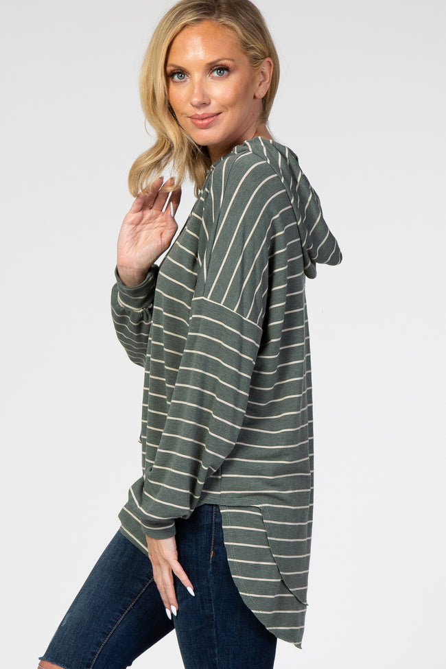 Olive Striped Long Sleeve Hooded Top
