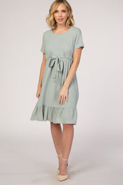 PinkBlush Mint Waist Tie Ruffle Hem Linen Dress