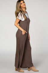 Mocha Sleeveless Wide Leg Jumpsuit