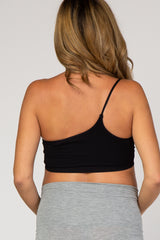 Black Ribbed One Shoulder Maternity Bralette