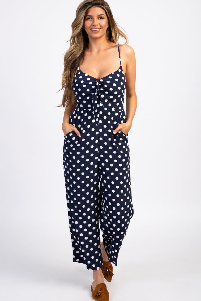 Navy Polka Dot Tie Front Cropped Jumpsuit