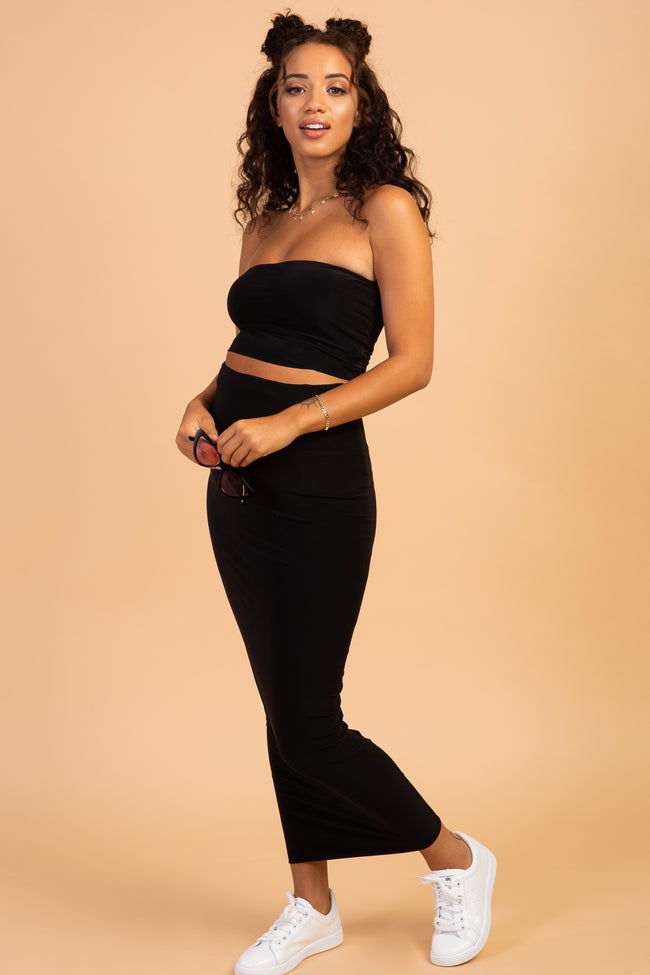 Waverleigh Black Fitted Crop Top Maxi Skirt Maternity Set