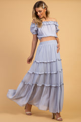 Waverleigh Light Blue Ruffle Crop Top Tiered Skirt Maternity Set
