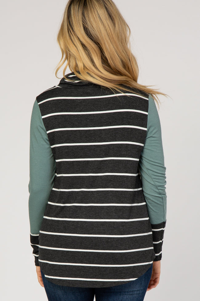 Charcoal Striped Funnel Neck Colorblock Top