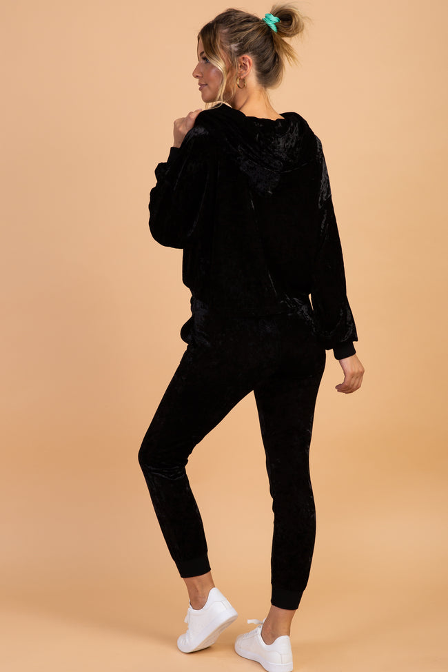 Waverleigh Black Velvet Hoodie And Pant Maternity Set