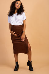 Waverleigh Brown Ribbed Side Slit Maternity Midi Skirt