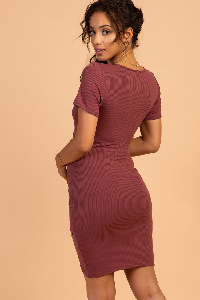 Waverleigh Burgundy Cutout Knot Front Ruched Maternity Dress