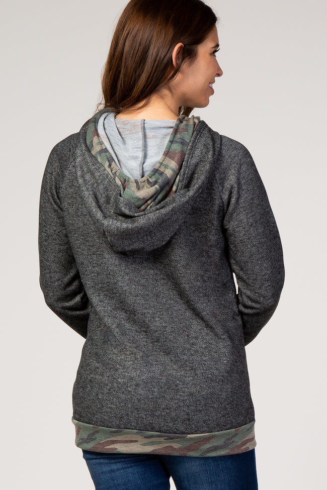 Charcoal Camo Trim Hooded Maternity Sweater