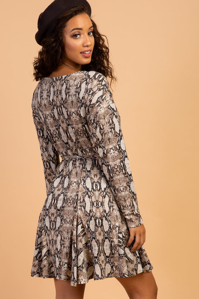 Waverleigh Brown Animal Print Long Sleeve Maternity Dress