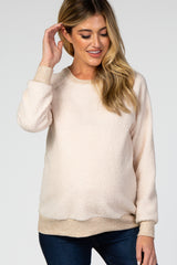 Beige Teddy Long Sleeve Maternity Sweatshirt