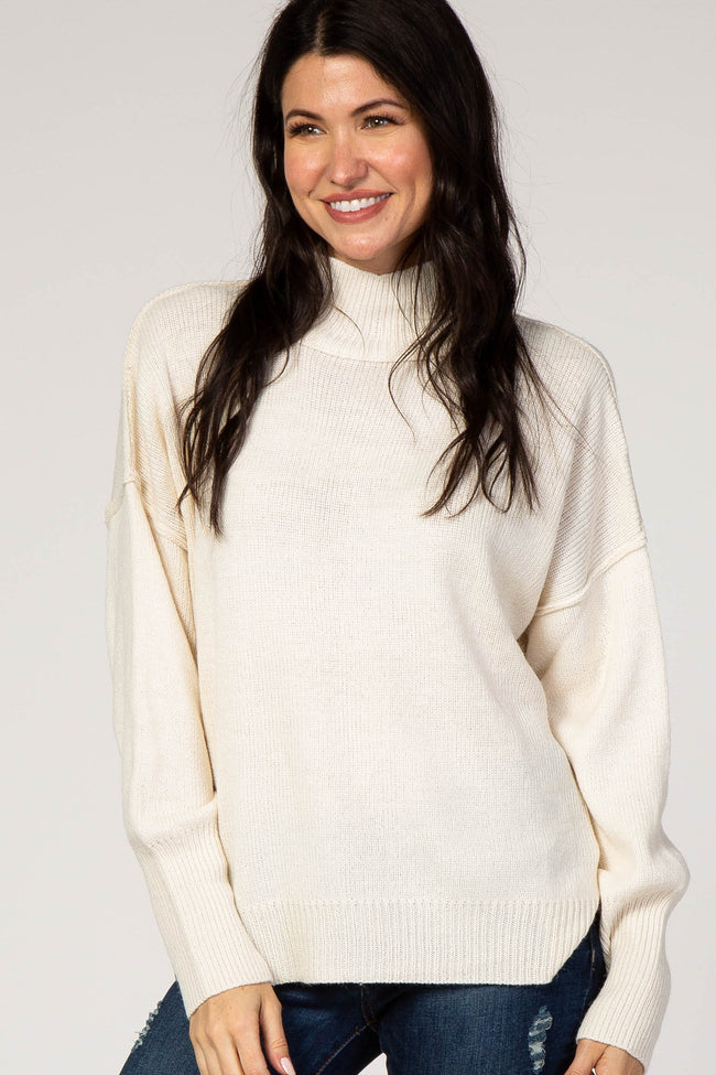 Ivory Turtleneck Maternity Sweater