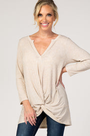 Beige 3/4 Sleeve Knotted Hem Top