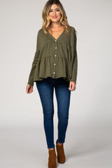 Olive Button Front Tiered Maternity Top