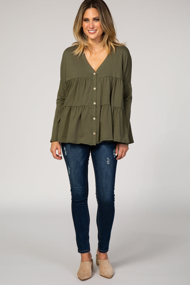 Olive Button Front Tiered Top