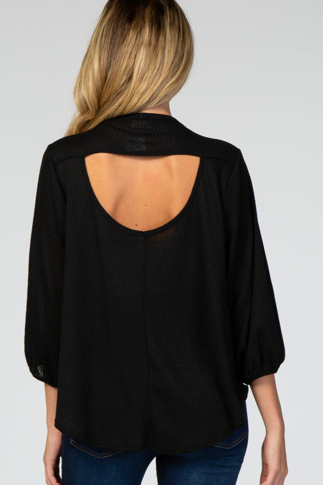 Black Waffle Knit Cut Out Back Maternity Top