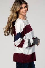 Burgundy Colorblock Striped Knit Sweater