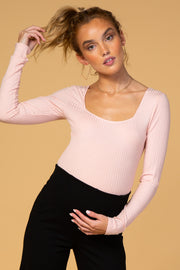 Waverleigh Light Pink Square Neck Ribbed Maternity Bodysuit