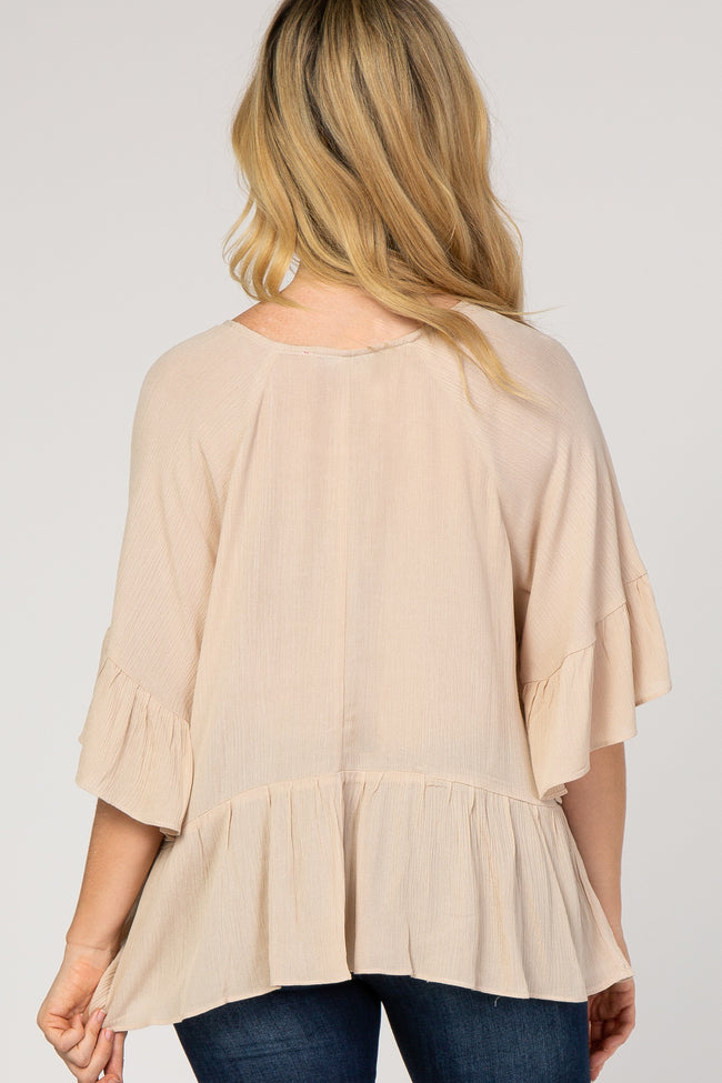 Beige Ruffle Trim Crinkled Top