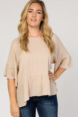 Beige Ruffle Trim Crinkled Maternity Top