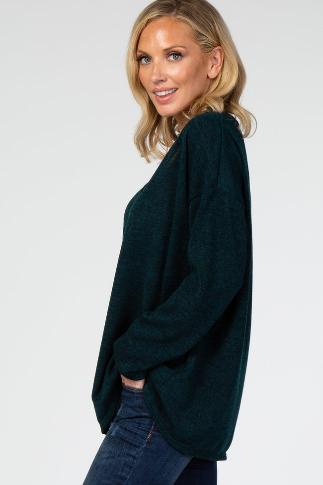 Forest Green V-Neck Ribbed Knit Top
