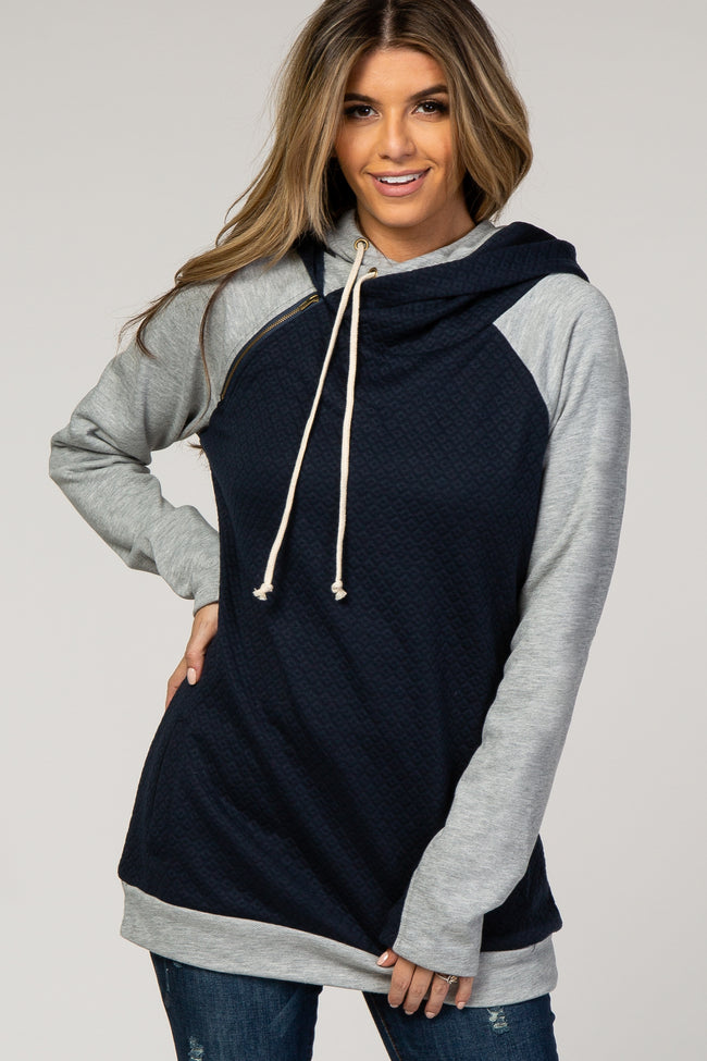 Navy Blue Quilted Colorblock Hoodie