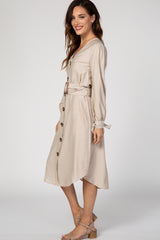 Beige Button Front Belted Midi Dress